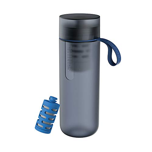 Philips Water GoZero Active Bottle with One Fitness Filter, Squeeze Hydration Bottle, Filtering Water Bottle, Improving Tap Water Taste, BPA-Free, 20 oz, Blue