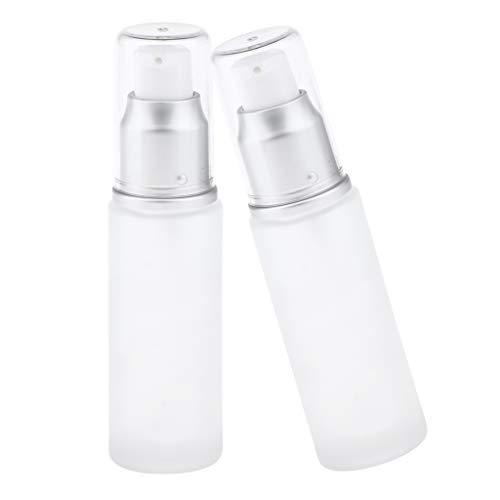 harayaa 2Pcs Vide Vaporisateur Lotion Pompe Bouteilles En Verre Crème Conteneurs Cosmétiques - Tête de pompe 30ML