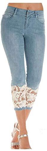 Pantalon Shorts Longueur Genou Jeans Push Up Jeans Déchiré Jeans Court Jeans Dentelle Asiatique Taille L Style2blue
