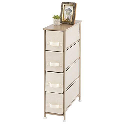 mDesign Cómoda para dormitorio con 4 cajones – Organizador para ropa estrecho con tablero de MDF – Cajonera de metal y tela para habitación, sala de estar o pasillo – crema y dorado