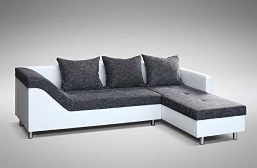 Küchen-Preisbombe Sofa Couch Ecksofa Eckcouch Sofagarnitur in Weiss/schwarz-grau Lissabon 2 OT R