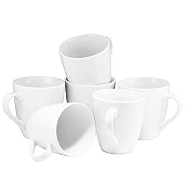 Coffee Mug Set Set of 6 Large-sized 16 Ounce Ceramic Coffee Mugs Restaurant Coffee Mugs By Bruntmor (White)