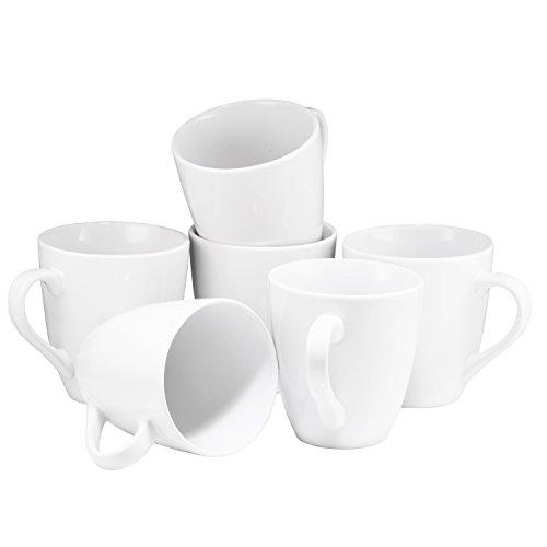 Coffee Mug Set Set of 6 Large-sized 16 Ounce Ceramic Coffee Mugs Restaurant Coffee Mugs By Bruntmor, White