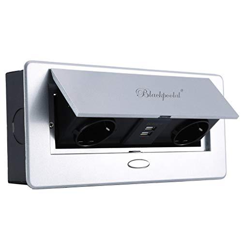 Versenkbare Steckdose, Einbausteckdose mit USB, Tischsteckdose mit Soft-Closing Klappdeckel, Grau-Metallic (2-Fach, 2-USB)