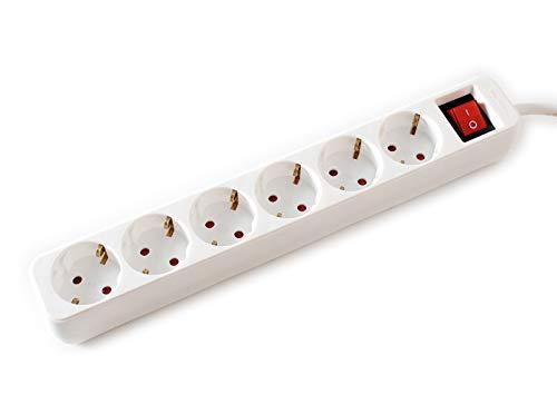 VALUE 6-voudige stekkerdoos met schakelaar, geaard contact, stekkerdoos met kinderbeveiliging, wit, 6 m