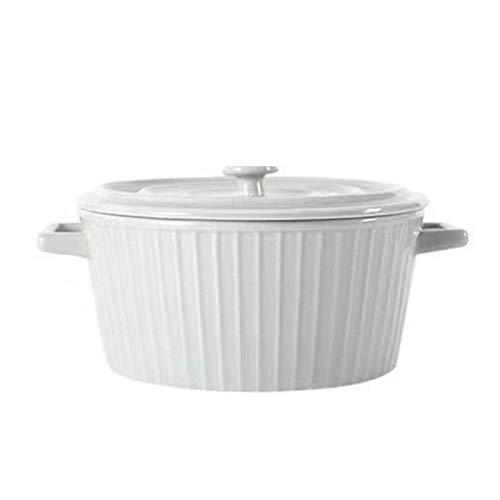 Tazón grande de cerámica con tapa, 1200 ml binaural Bowl Salud y Seguridad Escaldado, tazón de fideos instantáneos, tazón de cerámica para microondas