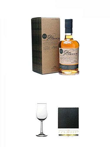 Glen Garioch 12 Jahre Single Malt Whisky 0,7 Liter + Whisky Nosing Gläser Kelchglas Bugatti mit Eichstrich 2cl und 4cl 1 Stück + Schiefer Glasuntersetzer eckig ca. 9,5 cm Durchmesser