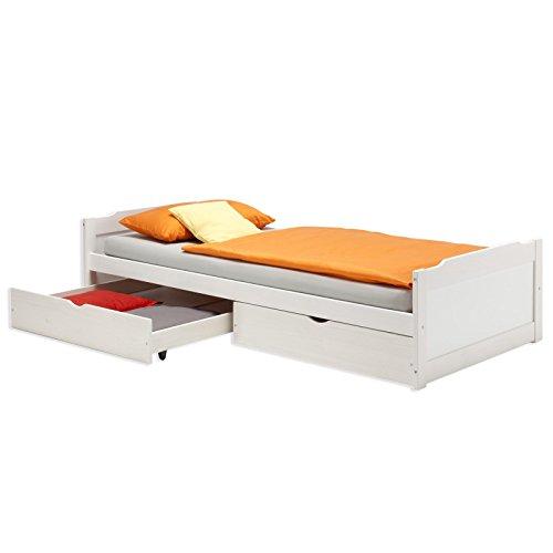 IDIMEX Kojenbett Funktionsbett Jugendbett Bett Kiefer massiv Weiss 90 x 200 cm (BxL)