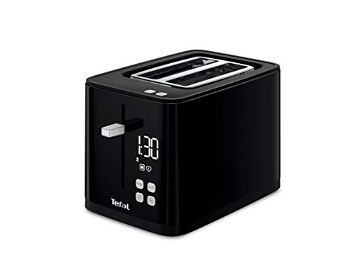 TEFAL SMART N' LIGHT Grille-pain toaster noir 2 Fentes extra large Thermostat réglable 7 Positions Affichage digital Favoris Arrêt Décongelation Réchauffage TT640810