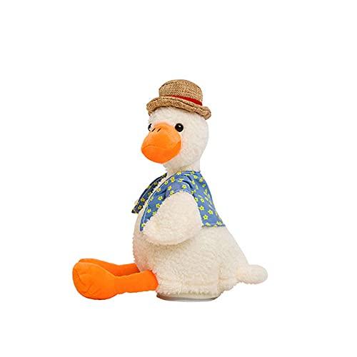 Hablando Repetir Doll Duck Sombrero de paja Pequeños animales lindos Peluche Doll Doll Niños Cumpleaños Regalo de Navidad