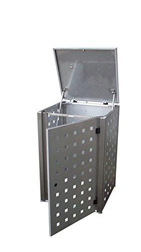 Mülltonnenschrank Edelstahl für drei 120 Liter Tonnen - 4