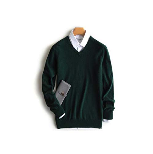 Cashmere Sweater Men Pullover Clothes Hombre Robe Pull Homme Hiver Man Sweaters,v-Neck Green,XL