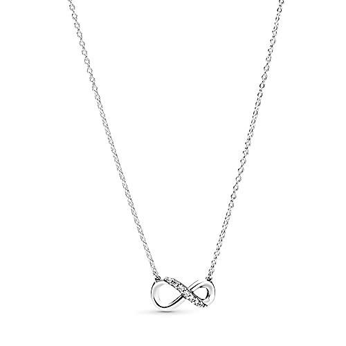 collar Collar De Plata De Ley 925 Brillante Infinity Collier Regalo De Joyería