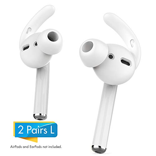 AhaStyle 2 Pairs AirPods Ear Hooks Tips Earbuds Covers [Added Storage Pouch] Compatible with Apple AirPods 2 and 1 or EarPods(White-2 Pairs Large)