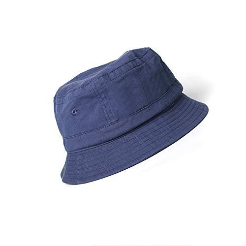 LDDENDP Cappello pescatore primavera estate femminile bacino esterno cappello a tesa larga cappello neutro nero coppia letteraria modelli donne viso visiera anti-UV regolabile (Color : Navy blue)