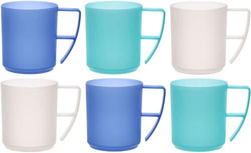idea-station NEO Kunststoff-Tassen 6 Stück, 350 ml, Ice-Edition, Griff, mehrweg, bruchsicher, Kaffee-Becher, Kaffee-Tasse, Kinder-Tasse, Kinder-Becher, Party-Geschirr, Camping-Geschirr