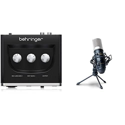Marantz Professional MPM-1000Microfono a Condensatore con Diaframma Largo, Spugna Antivento, Sospensione Elastica, Treppiede e Cavo XLR & Behringer U-PHORIA UM2