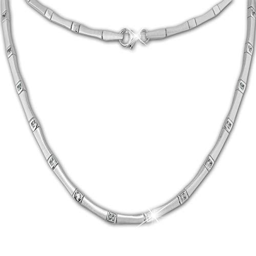 SilberDream Halsschmuck 46cm Halskette matt Zirkonia 925er Silber SDK436W