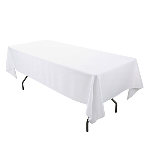 E-TEX 60 x 102-Inch Rectangular Tablecloth, 100% Polyester Washable Table Cloth for 6Ft. Rectangle Table, White