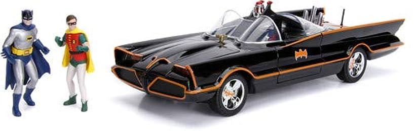 DC Comics Classic TV Series Batmobile Die-cast Car, 1:18 Scale Vehicle& 3 Batman & Robin Collectible Figurine
