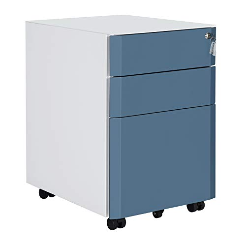 SONGMICS Mobile File Cabinet, Lockable, Metal Filing Pedestal with 3 Drawers, Hold Documents, Stationery, Hanging Folders, for Office, Home Office, White and Slate Blue OFC70WB