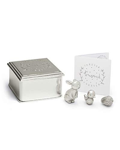 Mamas & Papas Forever Treasured Silver Plated Bunny Rabbit, Chick & Acorn Trinket Box Set