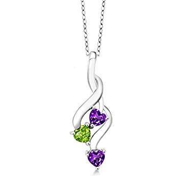 Gem Stone King 925 Sterling Silver Purple Amethyst and Green Peridot Pendant Necklace  0.73 Ct Heart Shape with 18 Inch Silver Chain