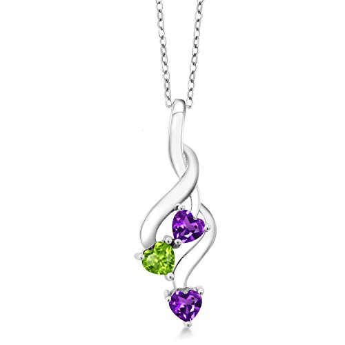 Gem Stone King 925 Sterling Silver Purple Amethyst and Green Peridot Pendant Necklace (0.73 Ct Heart Shape with 18 Inch Silver Chain)