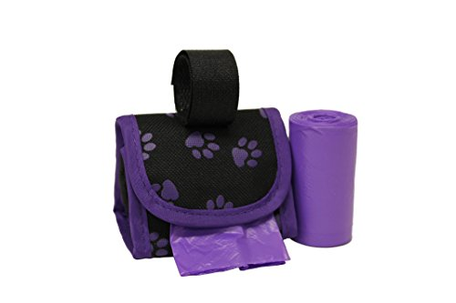 Five Star Pet Purse Style Dispenser with 2 Rolls Made in USA Easy Open Poop Bags Dog Waste Bags Purple Paw