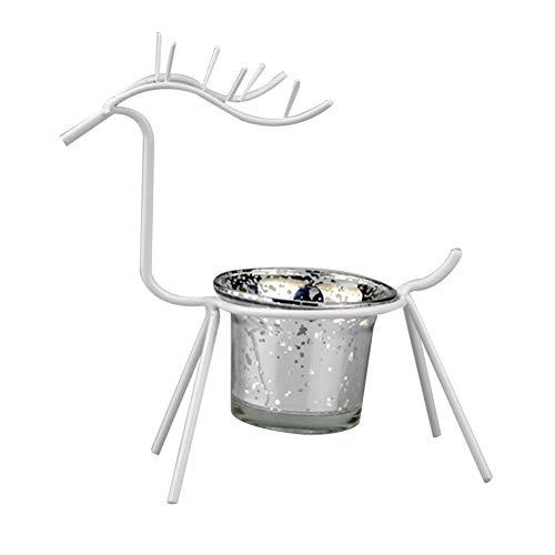 Lovejoy Store Kerzenhalter aus Metall und Glas, weihnachtliches Rentier-Design, Kerzenhalter, Tischdekoration für Zuhause, Bar, Party, Fenster, 1 Stück, weiß