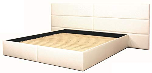 Casa Padrino Echtleder Bett Weiß Möbel, Grösse:160 x 200 cm
