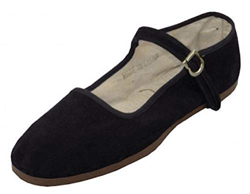 Shoes 18 Womens Cotton China Doll Mary Jane Shoes Ballerina Ballet Flats Shoes (11, 118-t Black)
