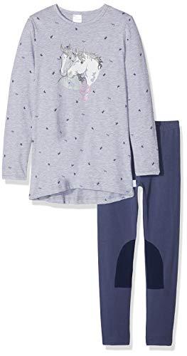 Schiesser Mädchen Pferdewelt Md Anzug lang Zweiteiliger Schlafanzug, Grau (Grau-Mel. 202), 116