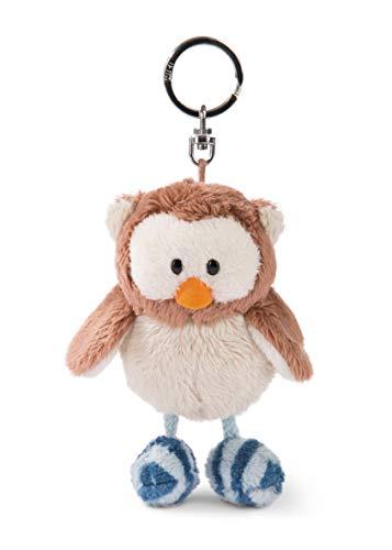 NICI 46090 Eule Oscar 10cm Schlüsselanhänge, Kopf drehbar, Flauschiges Plüschtier mit Schlüsselring, braun/blau