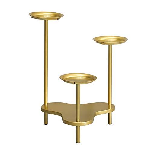 QIANMEI Soporte De Maceta De Arte Forjado Se Puede Utilizar como Candelabro, con 3 Bandejas For La Decoración del Hogar Moderno Interior Y Exterior, Simple Y Lujoso