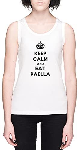 Keep Calm and Eat Paella Blanca Mujer Camiseta De Tirantes Tamaño XL White Women