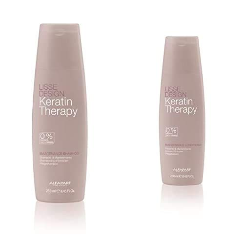 Alfaparf Lisse Design Keratin Therapie Pflege Champú, 250 ml + Milano Lisse Design Keratin Therapy Maintenance Acondicionador 250ml