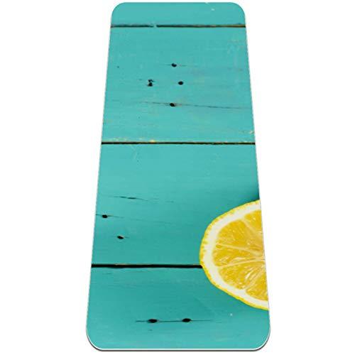 Alfombra de yoga extra gruesa con cítricos, ecológica, antideslizante, para todo tipo de yoga, pilates y ejercicios de piso, 182,8 x 60,9 cm