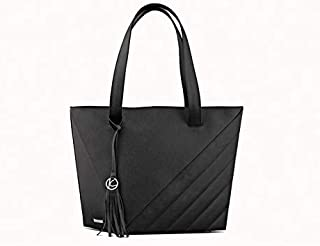 Kaizer KB2100BLK Leather Shopper Bag for Women - Black