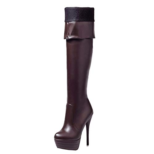 Smilice Damen Knie Hoch Stiefel mit Stiletto Absatz (Braun, 44 EU)