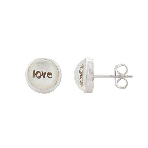 Pendientes de plata de ley 0925. LOVE