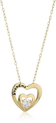 Sterling Silver Cubic Zirconia Grandma Double Heart Pendant Necklace