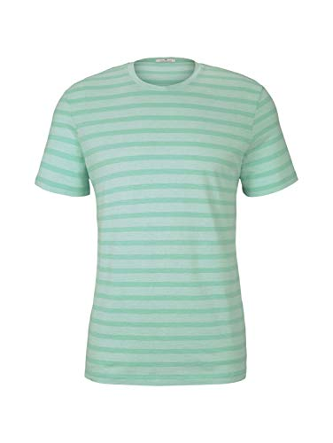 Tom Tailor 1020896 Striped Camiseta, 26721 Lucite Green Fine Stripe - Juego de Mesa de Juguete, XL para Hombre