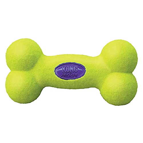 KONG - AirDog Squeaker Bone - Juguete sonoro y saltarín, Tejido Pelota de Tenis - para Perros Grandes