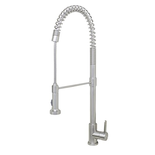 """Wells Sinkware 309002 Renaissance Collection 27"""" Spring Single Handle Pull-Down Commercial Style Kitchen Faucet, Stainless Steel"""