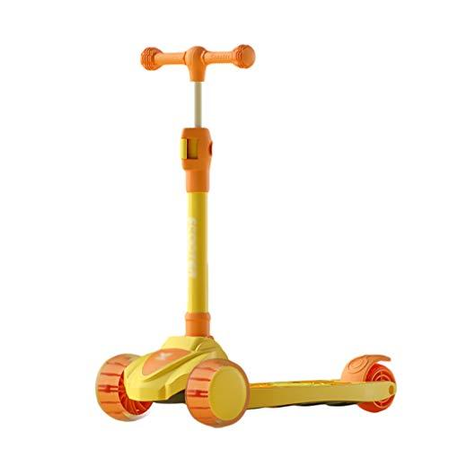 ZZL Scooter de truco para niños de 2 años en adelante ruedas intermitentes inclinadas para dirigir el scooter plegable para niños pequeños, freno de rueda trasera, altura ajustable (color: amarillo)