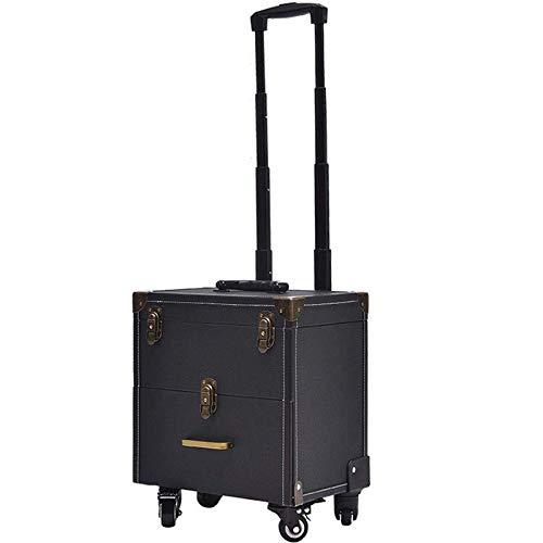 HIZLJJ Beauty Trolley Case Case Treno Caso di Vanity Box Bagagli Valigia Stoccaggio Organizzatore Parrucchiere, Mua, Artista per Unghie (Color : Black)