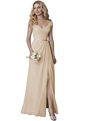 Lover Kiss Women Off Shoulder Long Bridesmaid Dresses Chiffon Formal Evening Dress with Slit Champagne, 6