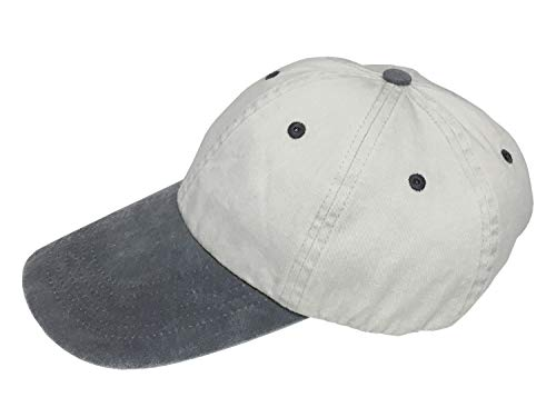 Broner Washed Cotton Swordfish Cap with Contrast Color Bill, Stone with Charcoal