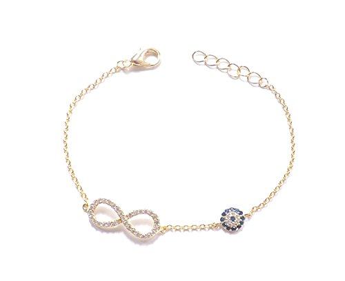 Remi Bijou - Armband Armkette Infinity Sonsuzluk Unendlichkeit ewige Liebe Böser Blick blaues Auge Nazar Boncuk Evil Eye Gold Farbe